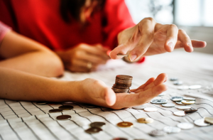 people counting coins