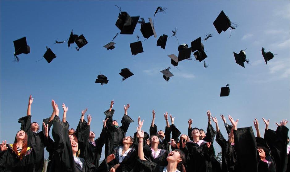 students during graduation ceremony